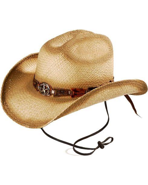 Bullhide Men's Star Central Straw Hat, Natural, hi-res
