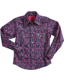 Cowgirl Hardware Girls' Two Tone Paisley Crystal Yoke Long Sleeve Snap Shirt, , hi-res