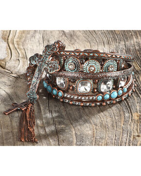 Shyanne Women's Bronze Bangle Set, Turquoise, hi-res