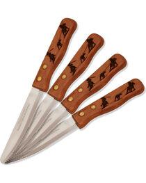 Moss Brothers Laser Engraved Team Roping Steak Knife 4-Piece Set  , , hi-res