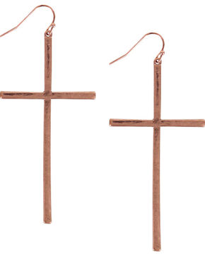 Shyanne® Women's Bronze Cross Earrings, Bronze, hi-res