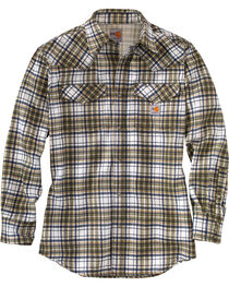 Carhartt Men's Moss Flame-Resistant Snap-Front Plaid Shirt - Tall , , hi-res