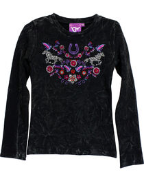 Cowgirl Hardware Girls' Floral Horse Mini Waffle Knit Shirt, , hi-res