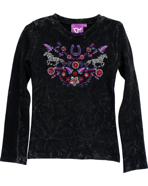 Cowgirl Hardware Girls' Floral Horse Mini Waffle Knit Shirt, Black, hi-res