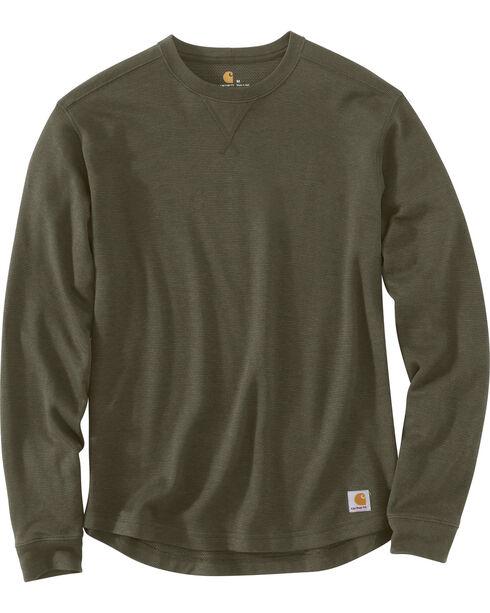 Carhartt Men's Tilden Long Sleeve Crewneck Sweatshirt, Moss Green, hi-res