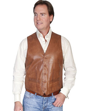 Scully Premium Lamb Leather Vest, Brown, hi-res