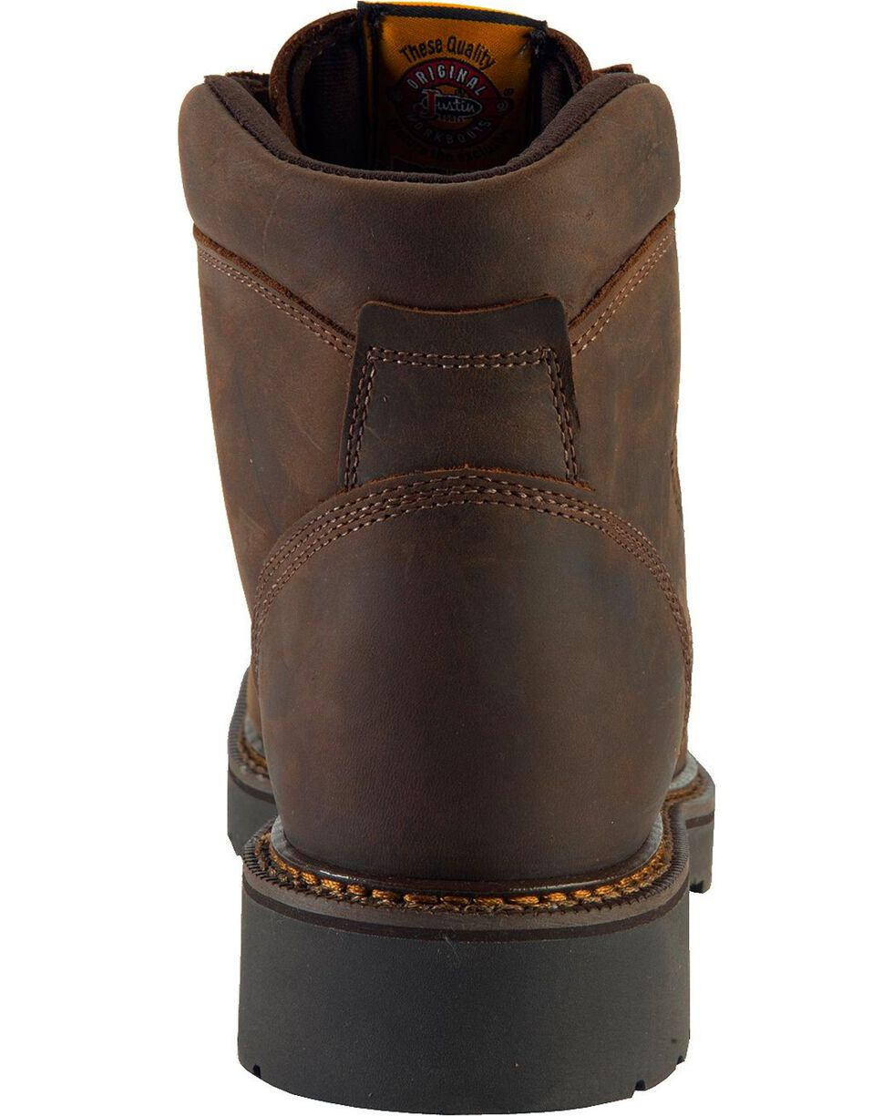 """Justin Men's J-Max Rugged Gaucho 6"""" Lace-Up Work Boots, Brown, hi-res"""