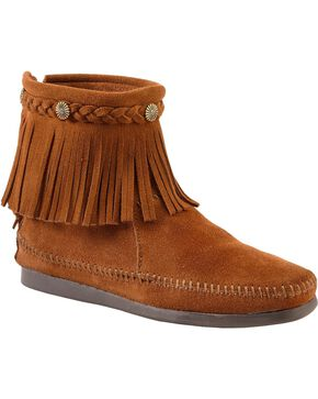 Minnetonka Women's Hi Top Back Zip Boots, Brown, hi-res
