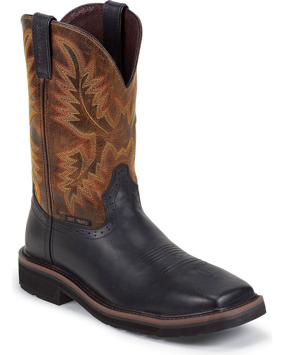 """Justin Men's Stampede 11"""" Composition Toe Western Work Boots, Black, hi-res"""
