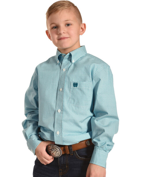 Cinch Boys' Teal Match Dad Long Sleeve Shirt , Teal, hi-res