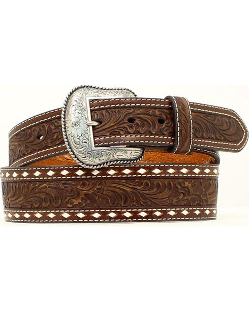 Nocona Belt Co. Men's Tooled Leather Belt, Brown, hi-res