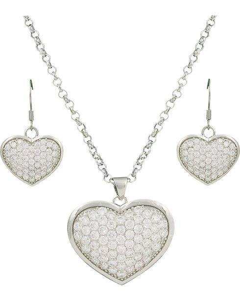 Montana Silversmiths Star Lights Heart Jewelry Set, Silver, hi-res