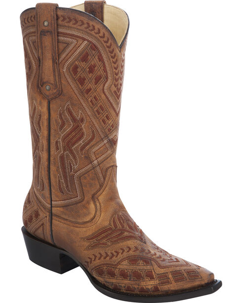Corral Men's Embroidered Snip Toe Western Boots, Tan, hi-res