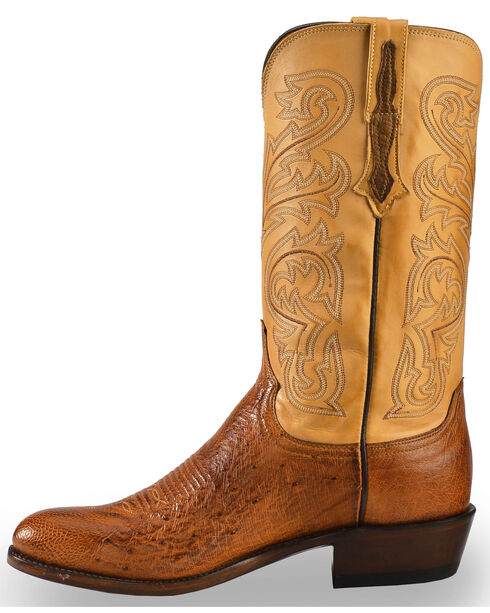 Lucchese Men's Light Brown Nathan Smooth Ostrich Boots - Round Toe , Lt Brown, hi-res
