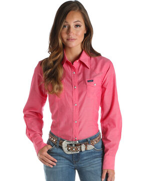 Wrangler Women's Pink Snap Up Top , Pink, hi-res