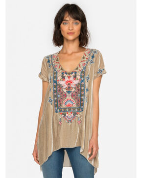Johnny Was Women's Khaki Nindi Velvet Drape Top , Lt Brown, hi-res