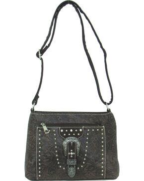 Savana Women's Tooled Embellished Crossbody Bag, Brown, hi-res