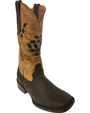 Ferrini Women's Bandita Dark Chocolate Cowgirl Boots - Square Toe, Dark Brown, hi-res