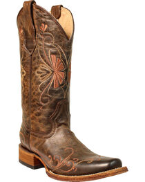 Corral Women's Brown Floral Shedron Embroidery Boots - Square Toe , , hi-res