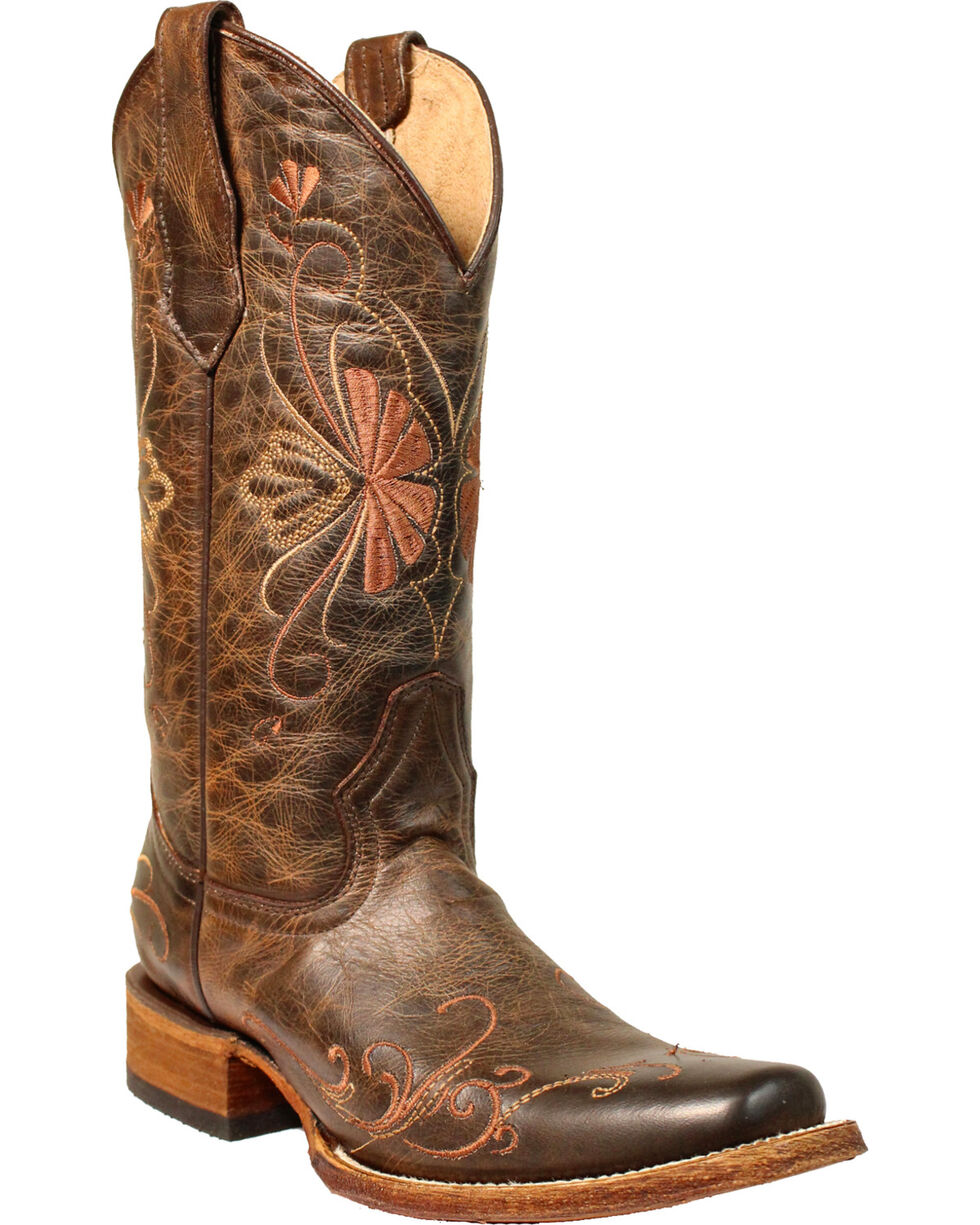 Circle G Women's Brown Floral Shedron Embroidery Boots - Square Toe , Brown, hi-res
