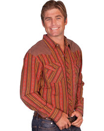 Scully Brown Yokes Striped Western Shirt, , hi-res