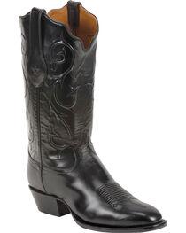 Tony Lama Black Brushed Signature Series Goat Western Boots - Square Toe , , hi-res