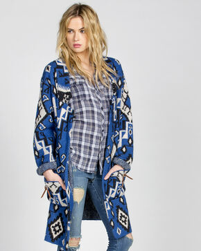 Miss Me Vintage Women's Concho Cardigan, Blue, hi-res
