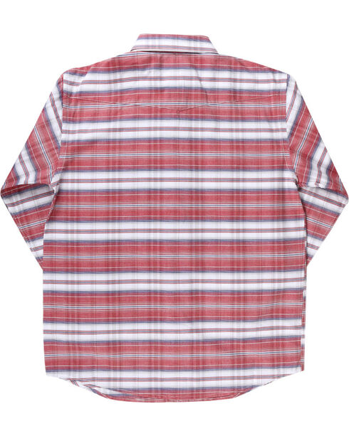 Rough Stock by Panhandle Boys' Striped Long Sleeve Shirt, Red, hi-res