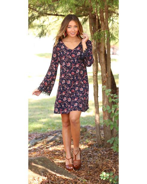 Wrangler Women's V-Neck Floral Long Sleeve Dress, Black, hi-res
