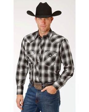 Roper Men's Black Plaid Long Sleeve Western Snap Shirt, Black, hi-res