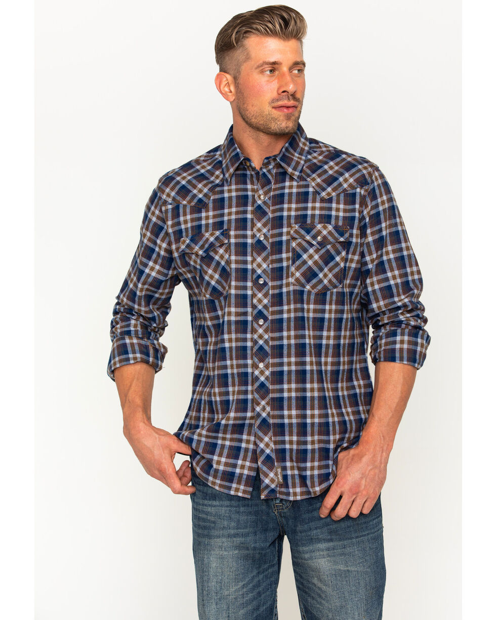 Wrangler Retro Men's Navy/Grey Plaid Premium Long Sleeve Snap Shirt, Navy, hi-res