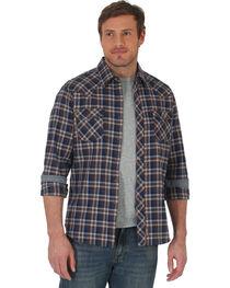 Wrangler Retro Men's Navy/Grey Plaid Premium Long Sleeve Snap Shirt - Big & Tall, , hi-res