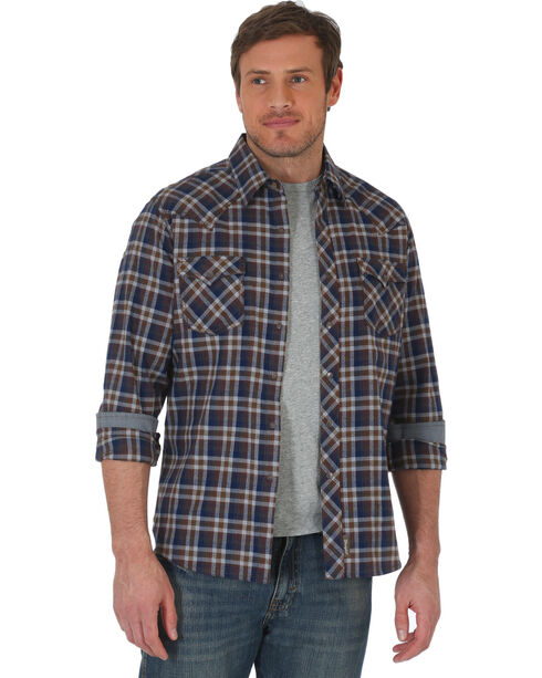 Wrangler Retro Men's Navy/Grey Plaid Premium Long Sleeve Snap Shirt - Big & Tall, Navy, hi-res