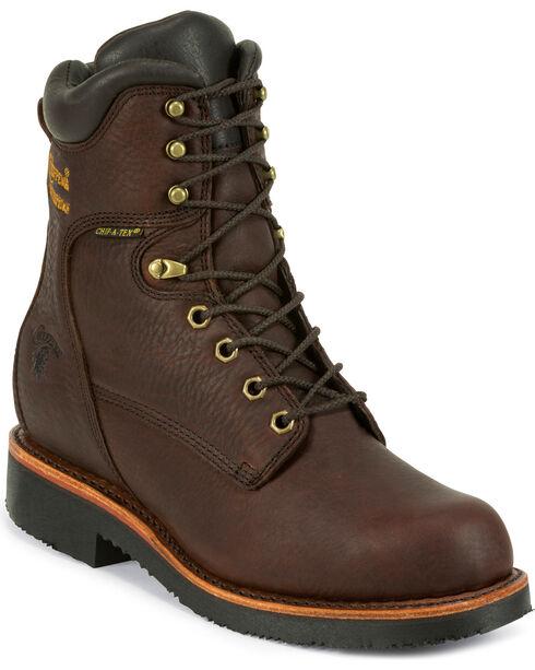 """Chippewa Men's 8"""" Lace Up Boots, Walnut, hi-res"""