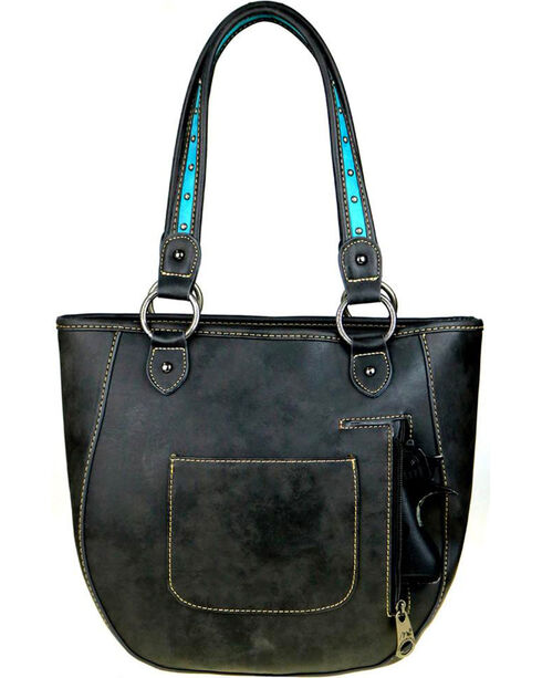 Montana West Women's Black Conceal Carry Floral Tooled Tote , Black, hi-res