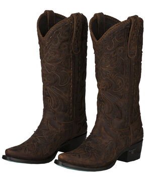 Lane Women's Robin Cognac Whipstitch Inlay Cowgirl Boots - Snip Toe, , hi-res