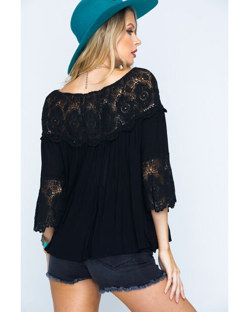Young Essence Women's Lace Off-the-Shoulder Peasant Top, Black, hi-res