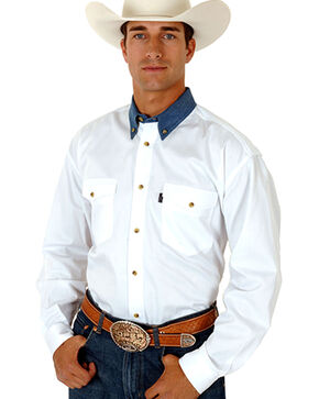 Roper Contrasting Collar Twill Western Shirt - Big and Tall, White, hi-res
