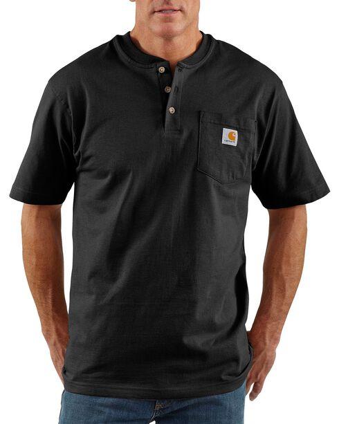 Carhartt Men's Workwear Henley Short Sleeve Shirt, Black, hi-res