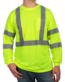 American Worker® Men's Long Sleeve High Visibility T-Shirt, Yellow, hi-res