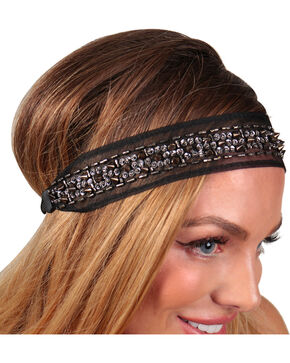 Shyanne® Women's Lace & Bead Headband, Black, hi-res