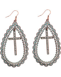 Shyanne® Women's Teardrop Cross Earrings, , hi-res