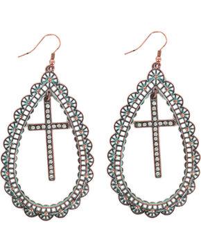 Shyanne® Women's Teardrop Cross Earrings, Turquoise, hi-res
