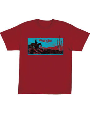 Wrangler Boys' Red Sunset Print Tee , Red, hi-res