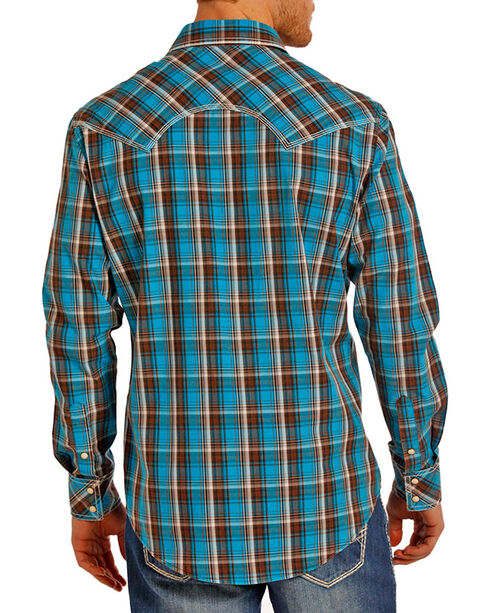 Rock & Roll Cowboy Men's Plaid Printed Long Sleeve Shirt, Turquoise, hi-res