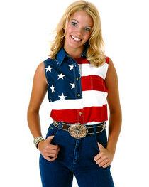 Roper Women's Sleeveless American Flag Western Shirt - Plus, , hi-res