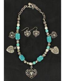 Blazin Roxx Beaded Heart Charm Necklace & Earrings Set, , hi-res