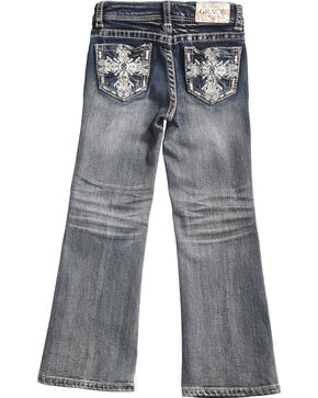 Grace in LA Girls' Dark Wash Scroll Bootcut Jeans , Indigo, hi-res