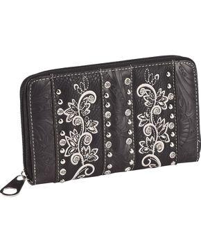 Savana Women's Embroidered Zip Around Wallet, Black, hi-res
