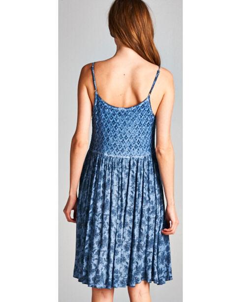 Hyku Women's Indigo Sleeveless Print Dress, Indigo, hi-res
